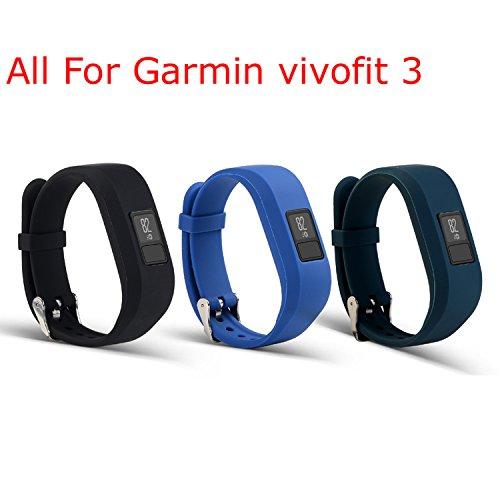 mtsugar Garmin Vivofit 3Ersatz-Armband mit sicheren Verschlüssen (ohne Tracker, nur Ersatzbänder), black&navy&slate