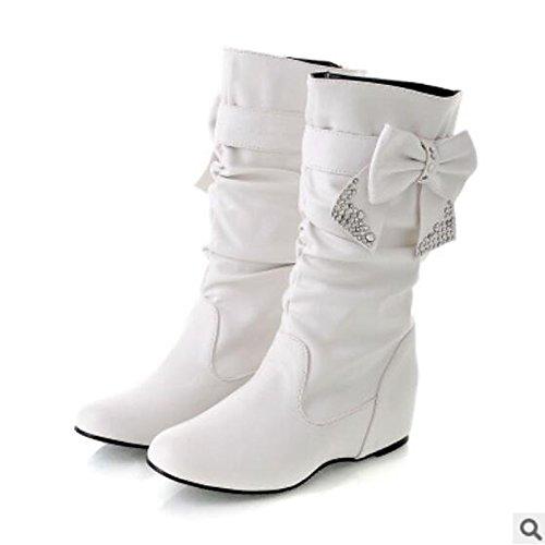 HSXZ Scarpe donna pu Autunno Inverno Comfort stivali Flat punta chiusa Mid-Calf scarponi per Casual Rosso Giallo Bianco Nero Yellow