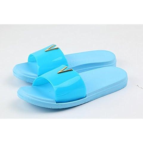 ZHLONG Nuovo tempo libero skid bagno pantofole casa pantofole donna , blue , 38