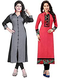 Pramukh Fashion Semi Stichead Pack of 2 Kurtis Combo(1002.grey skarp A)