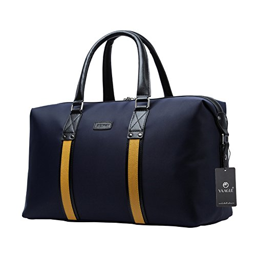 YAAGLE Mens Womens Large Capacity Oxford Top-handle Handbag Overnight Weekend Bag Business Trip Travel Duffle Bag Holdall Hand Luggage Black Blue