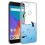 Funda Xiaomi A1, Eouine Cárcasa Ultrafina Silicona 3d Transparente con Dibujos Impresión Patrón [Antigolpes] Suave Gel TPU Housse Bumper Case Cover Fundas para Movil Xiaomi Mi A1 / Xiaomi Mi 5X (Pingüinos)