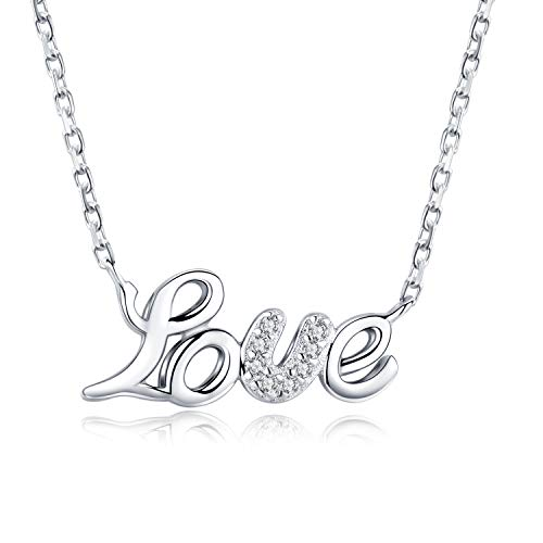 """Veecans collana donna argento s925 """"love"""" con pendente amore realizzato con zircone swarovski regalo per il san valentino, la festa della mamma e il natale, prolunga 45+5cm"""
