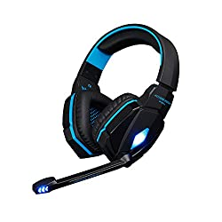 KOTION EACH G4000 Stereo 3.5mm Plug Gaming Headphone Headset Headband with Mic Volume Control for PC Game By AFUNTA - Black + Blue