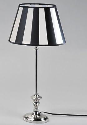 Moderne Lampe King-schwarz Oval 45cm Mit Einem Fu Aus Glnzendem Nickel Und Schwarz-weiss Gestreiftem Lampenschirm von Formano
