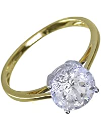 Ivy Gems 9ct Yellow Gold 2ct Finest 100 Cut Swiss Cubic Zirconia Round Solitaire Ring