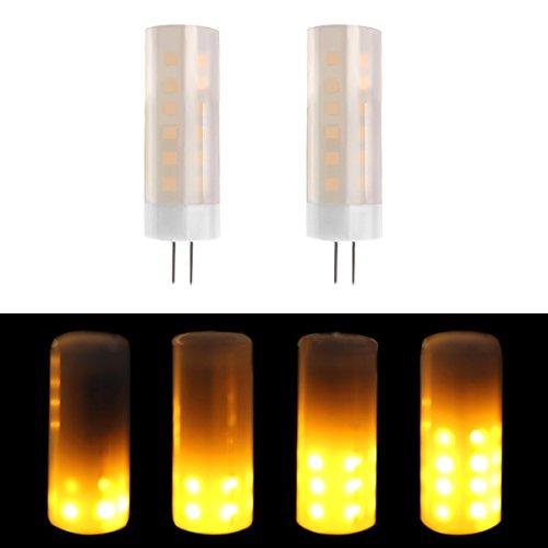 G4 Basis 2W 12V 1300K True Fire Farbe, LED-Lampe, flackernde Feuer Atmosphäre dekorative Lampe für Weihnachten, Halloween, Festival, Party, Pack 2 (12 Tage Von Halloween-musik)