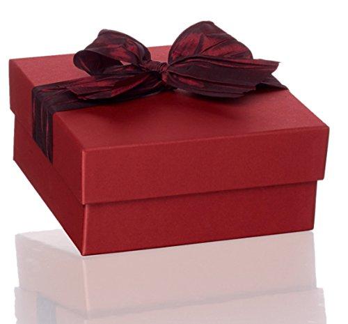 Rössler Geschenkbox rot mit Schleife, quadratisch, 19,5 x 19,5 x 9 cm, 1 Stück