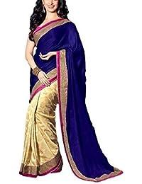 S R Fashion Velvet & Net Saree (Blue Velvet Saree 5000_Blue & Gold)