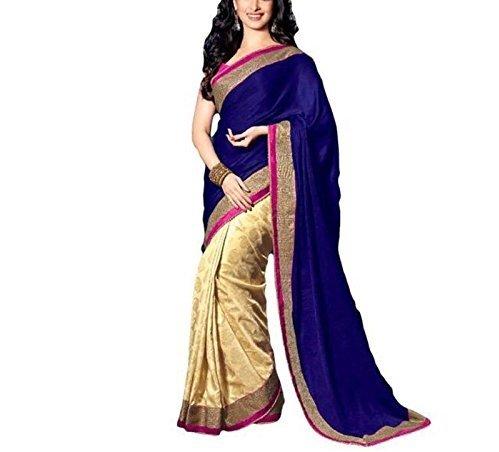 S R Fashion Velvet & Net Saree (Blue Velvet Saree 5000_Blue &...