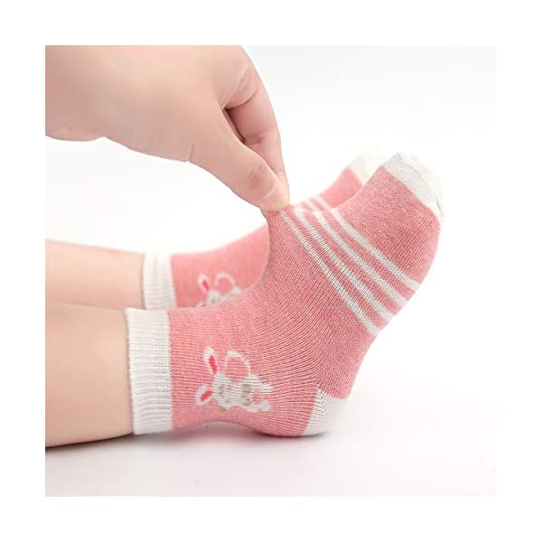 Cotton Coming Rosa Algodón Niñas Calcetines Bebé,9 Pares Lindo adj. Bebé Calcetines Niña 5