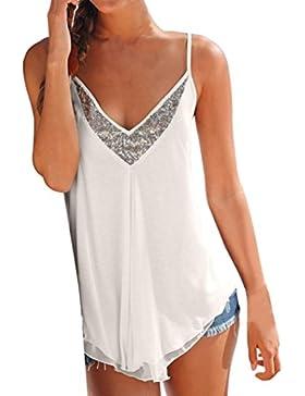 Irina007 Mujer Lentejuelas Escote V Chaleco De Gasa Camiseta Del Verano Camiseta Tops