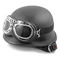 Black Retro Motorcycle Helmet, Halley Half Helmet Cruiser Scooter crosscountry scrambling Scooter DOT Approved for Men and Women (Containing Goggles)