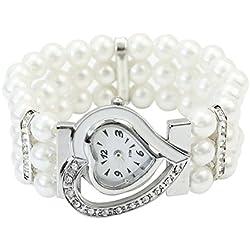 Women White Faux Pearl Beads Rhinestone Heart Dial Bracelet Stretch Wrist Watch
