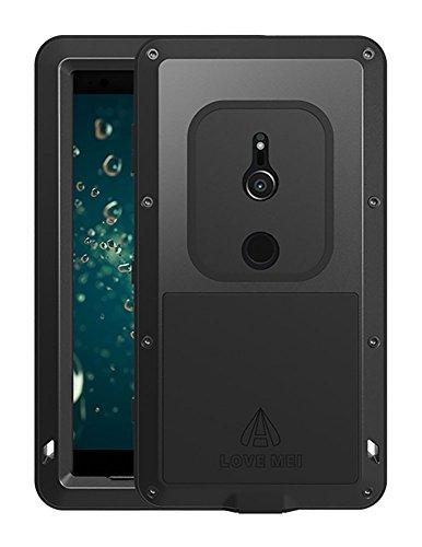 Fonrest Hülle für Sony Xperia XZ2 Compact, 5-Zoll Love MEI Schwerlast Hybride Aluminium Metall Rüstung Stoßfest Schmutzabweisend Staubdicht Case mit Hartglas (Schwarz)