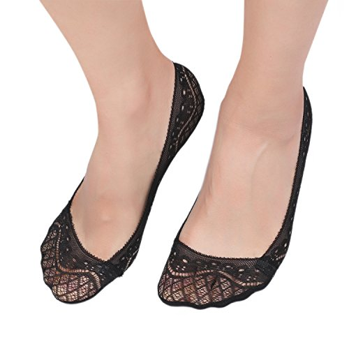 Zelta Women's Invisible Lace Socks Non Slip No Show Shoe Liner 4 Pairs