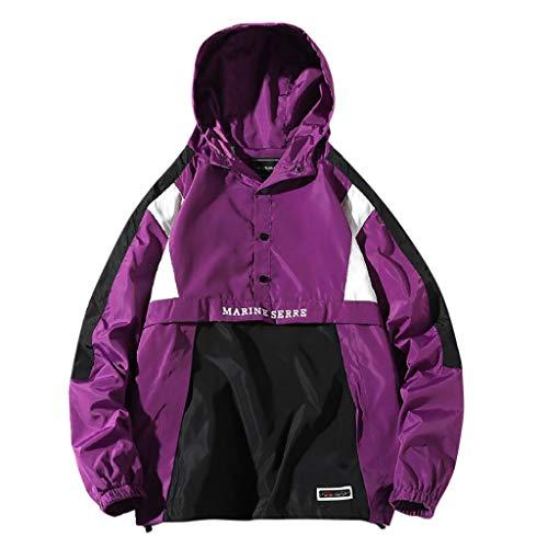 Hoodie für Herren, Herren Basic Kapuzenpullover Sweatjacke Pullover mit Kapuzen Langarm Sweatshirt Windbreaker Streetwear Farb-Patchwork (M, Lila)