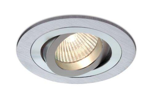 Empotrable Aluminio cepillado, circular y basculante (Halógeno o LED), color aluminio