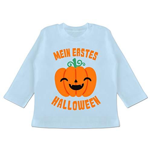 Anlässe Baby - Mein erstes Halloween Kürbis - 12-18 Monate - Babyblau - BZ11 - Baby T-Shirt Langarm (Lustig Womens 2019 Halloween-kostüme)