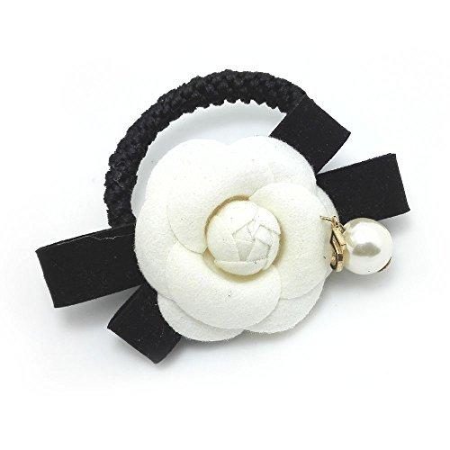 Meilliwish Blume Edel Haargummi Pferdeschwanz -Halter(B67)(Weiß)