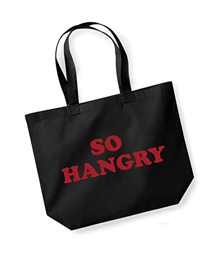 So Hangry- Large Canvas Fun Slogan Tote Bag Black/Red