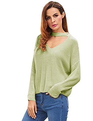 ROMWE Pull femme Col V Sweater manches longues - Vert