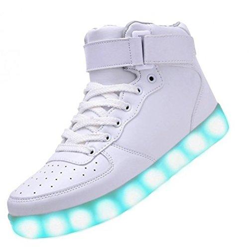 JUNGLEST Neu Damen Sneakers Leuchtende Blinkende Schuhe Led Light Licht Farbwechse kleines Handtuch Weiß