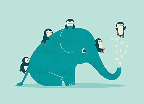 """JUNIQE® Leinwandbild 20x30cm Elefanten Kinderzimmer & Kunst für Kinder - Design """"Waterslide""""..."""