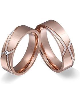 Adomio -Ringe 2 Trauringe Verlobungsringe Edelstahl Rosegold vergoldet - 1 Zirkonia weiss E-FA-HD-og