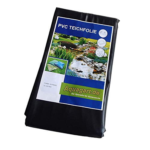 Hochwertige PVC Teichfolie 0,5mm Stärke 9m x 6m I Fisch und Pflanzenfreundlich, UV- und witterungsbeständig I Schwimmteich Folie Gartenteich Teichplane schwarz I Aquagart Garten- und Teichzubehör