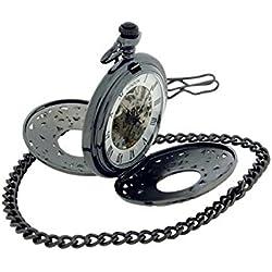 Softech Gunmetal Skeleton Dual Open Window Mechanic Pocket Watch 14 Chain ST18