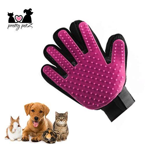 pretty petZ Fellpflege-Handschuh einfachen Entfernung Loser Tierhaare | Für Hunde & Katze in Profi Tiersalon Qualität | + GRATIS E-Book (S, Pink) (Katze-haar-bürste)