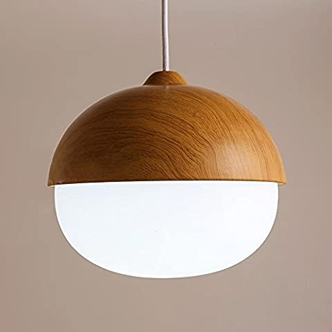 YYHAOGE Wood Pendant Lamp, Glass Chandelier, Simple Dining Room Lamp,