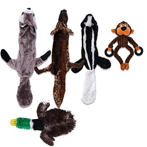 Rekkles 5pcs Haustier Entfernen Langeweile Tiere Formen quietschende Plüsch Chew Spielzeug, Kauen Ausbildung beißfest-Ton-Spielzeug -