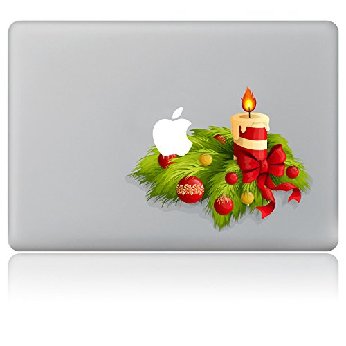 Vati ante candele di Natale vinile della decalcomania di arte della pelle nera per Apple (Fleur Candela)