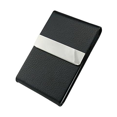 Porte-Carte Etui Crédit Visite Porte monnaie, QinMM Cuir Inoxydable Acier Affaires Nom Carte Cas Titulaire Housse Rigide (Noir)