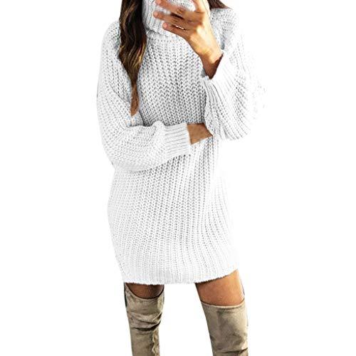 (Dasongff Damen Kleider Strickkleid Winter Weihnachtspullover Pullikleid Elegant Partykleid Rollkragen Strickpullover Minikleid Pulloverkleid Sweaterkleid Langarmkleid)