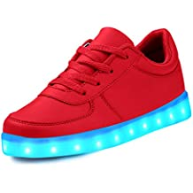 LeKuni Zapatillas con Luces LED 7 Colores USB Carga Luz Luminosas Flash Zapatos de Deporte Para(Talla 25-43)
