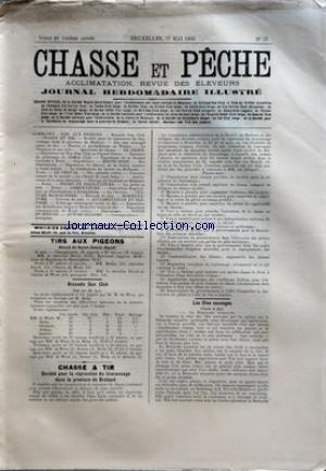 CHASSE ET PECHE [No 35] du 31/05/1903 - TIRS AUX PIGEONS - GAND - BRUSSELS GUN CLUB - CHASSE ET TIR - SOCIETE POUR LA REPRESSION DU BRACONNAGE DANS LA PROVINCE DE BRAHANT - LES OIES SAUVAGES - BOUC NUBIEN - DESSIN DE MLLE HOLMES PEGLER