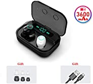 Wireless Earbuds, IPX5 Waterproof Bluetooth 5.0 Headphones with Mic, 150H Playtime with 3600mAh LED Charging Case, Touch-Cont