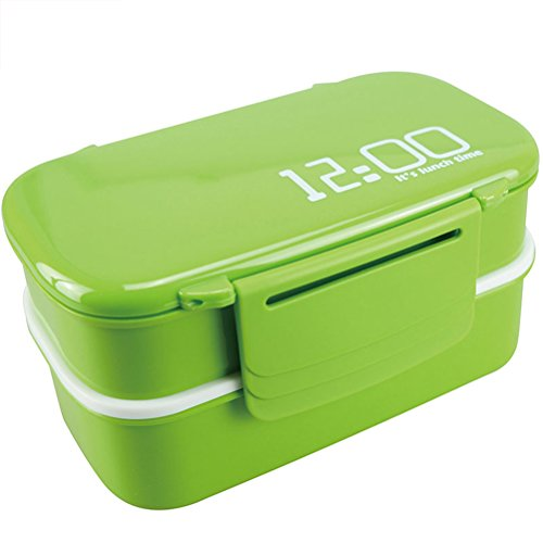 Brotdose mit 2 Ebenen Die gleiche Lunch Bag Clip Deckel, BPA-frei, 1410ml Frischhaltedosen Bento Box Mit Zwei Ebenen
