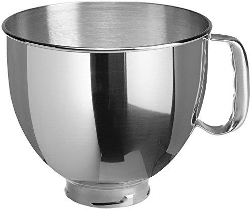 KitchenAid 5KSM95PSECU Küchenmaschine (4,3 l, Spritzschutz, 300 Watt, Flachrührer, Teighaken und Schneebesen) Silber