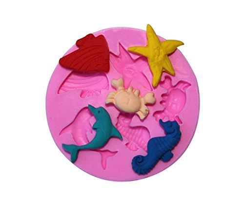 Delfin-form (Romote Coque en silicone Moules à gâteaux Moules à chocolat Cookie Moules pour enfant Poisson étoile de mer Cheval de mer et Dauphin)