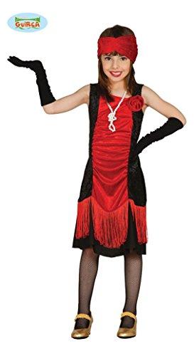 Guirca Rotes 20er Jahre Charleston Flapper Mädchen Kleid Gr 110-146, Größe:128/134