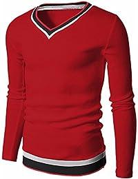 QIYUN.Z Los Hombres De Moda Cuello En V Manga Larga Rayas Jersey Blusas Camisetas Delgadas