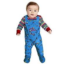 SMIFFYS Officially Licensed Baby Costume da Chucky con licenza ufficiale ragazzi, Blu e rosso, B1-0-3 Months, 52411B1