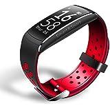 Smart Bracelet Sport Bluetooth Llamar Recordatorio Monitor De Frecuencia Cardíaca Reloj De Pulsera Impermeable ANDROID IOSplatform,Red-249*17mm