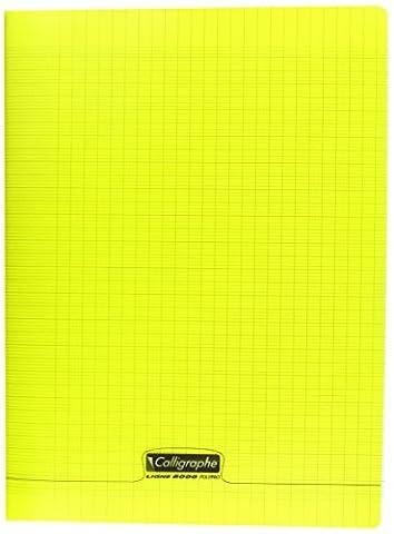 Clairefontaine 8000 POLYPRO 18394C Cahier piqué 192 pages grands carreaux couverture plastique 90 g 24 x 32 cm Jaune
