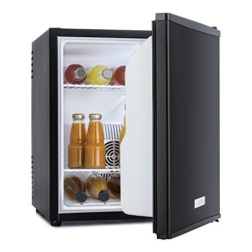 Klarstein • MKS-5 • Minibar • Mini-Kühlschrank • Getränkekühlschrank • A • 40 Liter Volumen • leiser Betrieb • 30 dB • ca. 43 x 51 x 48 cm (BxHxT) • 2 Regaleinschübe • Seitenfächer für Flaschen • 3-stufiger Temperaturregler • matt-schwarzes Gehäuse • schwarz
