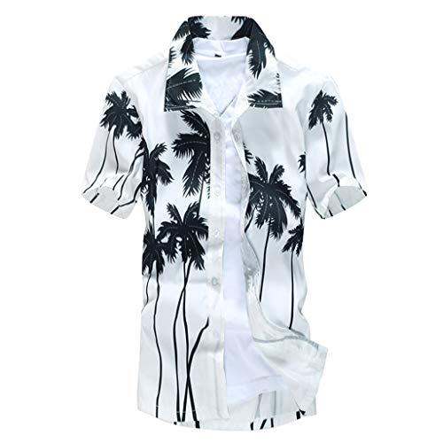 Btruely Herren Hemden Kurzarm Slim Fit Freizeitshirt Große Größe Freizeithemden Stehkragen Shirt Sommer Tops Hawaii Stil Poloshirt